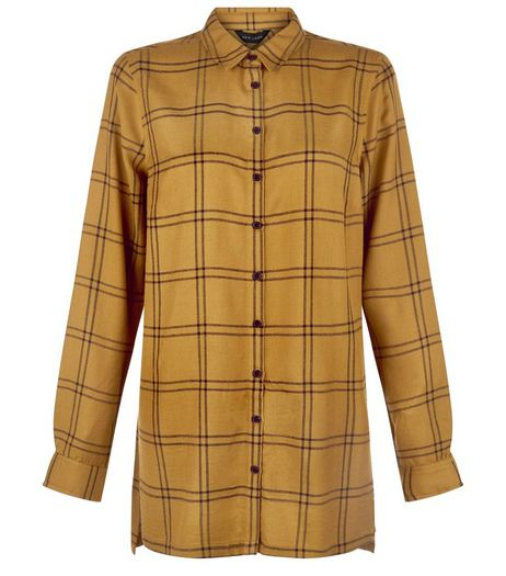 Olive Grid Check Longline Shirt  | New Look
