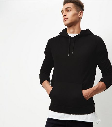 Black Cotton Mix Hoodie | New Look