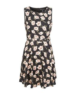 Mela Black Floral Print Belted Dress | New Look