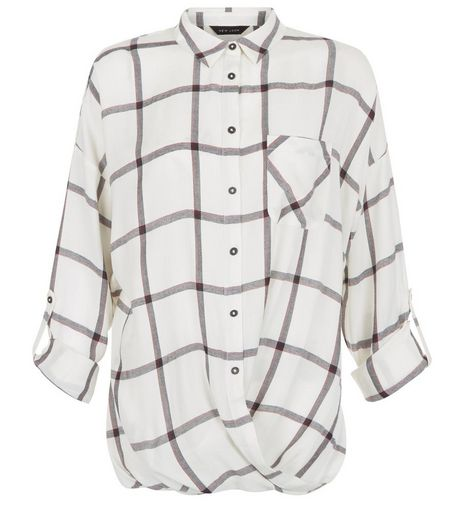 White Grid Check Wrap Front Roll Sleeve Shirt  | New Look