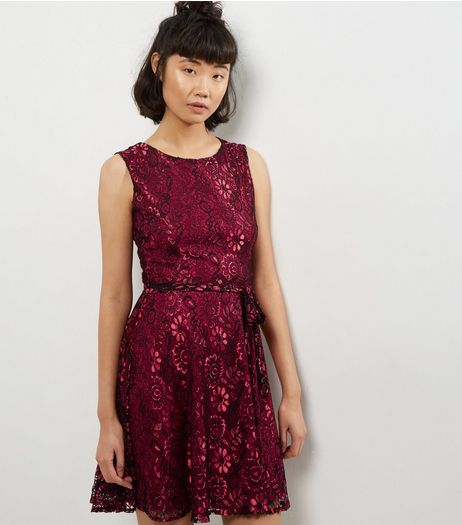 Mela Burgundy Lace Sleeveless Dress | New Look