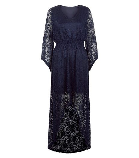 Mela Navy Lace Dip Hem Bell Sleeve Dress | New Look