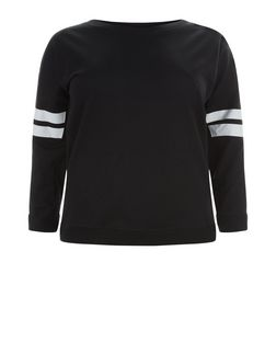 Curves Black Stripe Print Sleeve Sweater | New Look