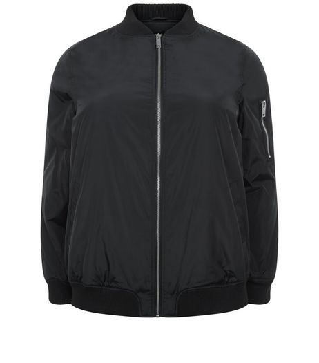 Curves Black Padded Bomber Jacket | New Look
