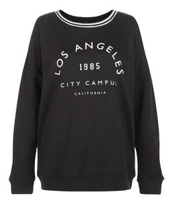 Black Los Angeles Print Sweater | New Look