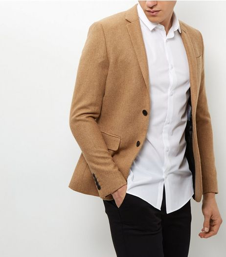 Camel Textured Blazer | New Look