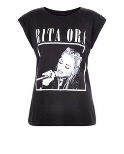 Black Box Rita Ora Roll Sleeve T-Shirt  | New Look