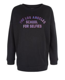 Black School For Selfies Sweater  | New Look