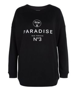 Black Paradise No 3 Print Sweater | New Look