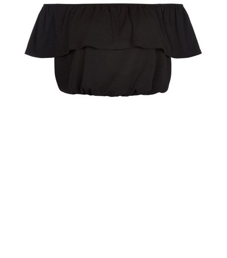 Black Frill Bardot Neck Crop Top | New Look