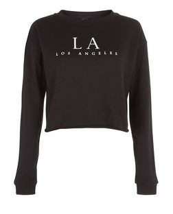 Black LA Cropped Sweater  | New Look