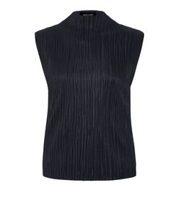 Black Pleated Funnel Neck Vest  | New Look