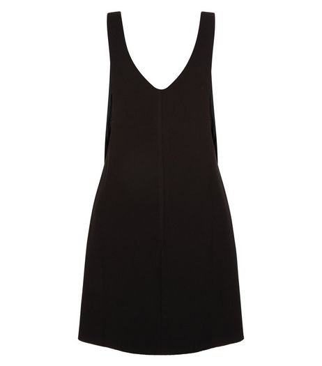 Petite Black Textured Pinafore Dress | New Look