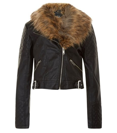 Teens Black Leather-Look Fauz Fur Collar Jacket | New Look