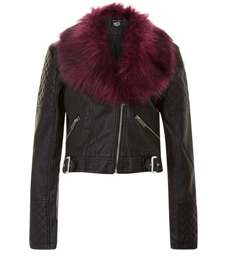 Teens Burgundy Leather-Look Faux Fur Collar Jacket | New Look