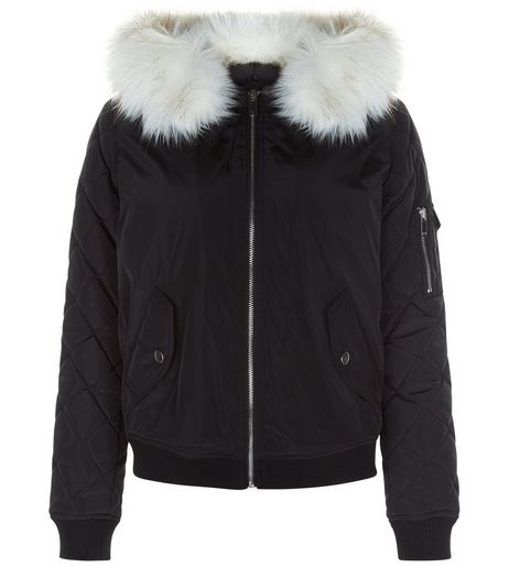 Teens Black Faux Fur Hooded Bomber Jacket | New Look