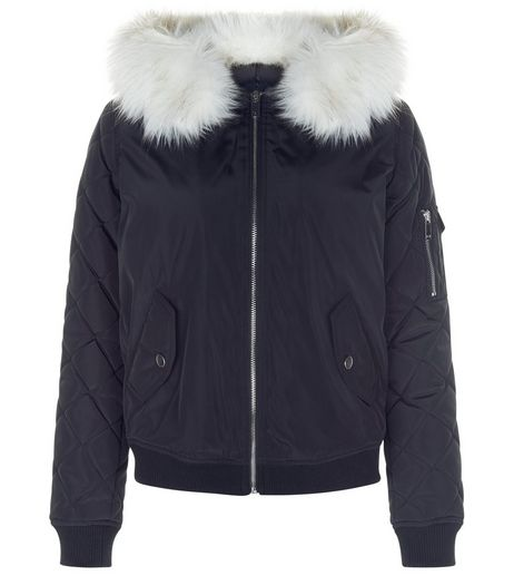 Teens Navy Faux Fur Hood Bomber Jacket | New Look