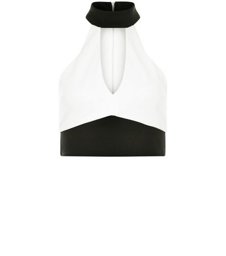Petite White Colour Block Crop Top | New Look