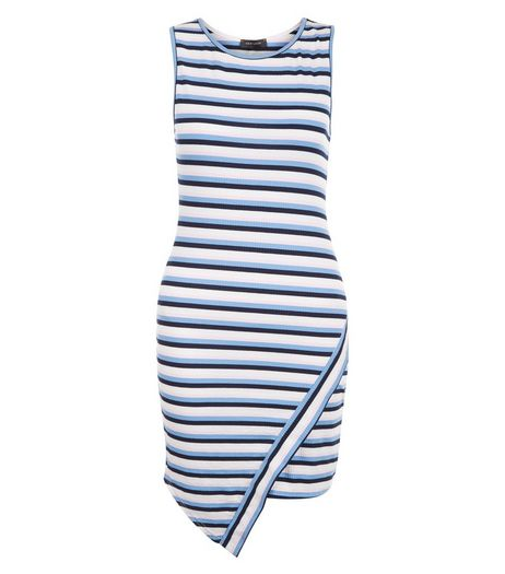 Petite Blue Stripe Wrap Bodycon Dress | New Look