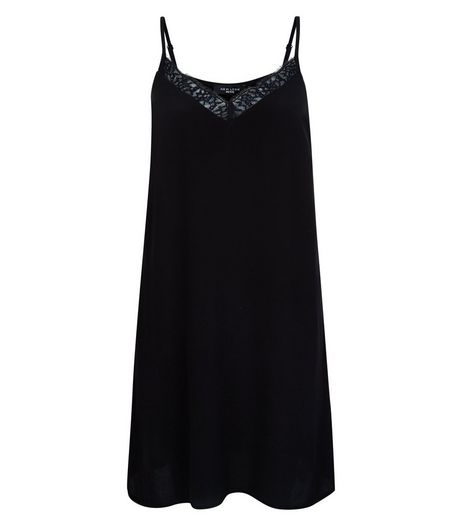 Petite Black Eyelash Lace Trim Slip Dress | New Look