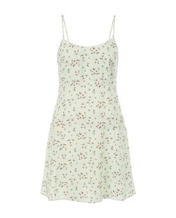 Petite Green Ditsy Floral Tie Back Slip Dress | New Look
