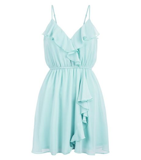 Petite Mint Green Frill V Neck Dress | New Look