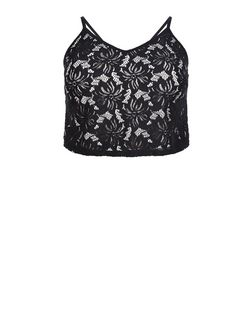 Curves Black Lace Crop Top | New Look