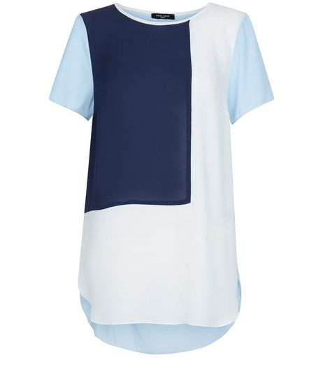 Tall Blue Colour Block T-Shirt | New Look