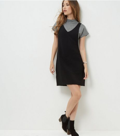 Tall Black Textured Pinafore Dress | New Look