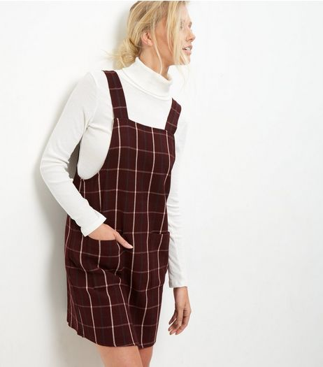 Tall Red Check Pinafore Dress | New Look