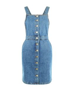 Tall Pale Blue Bleached Button Front Pinafore Dress | New Look