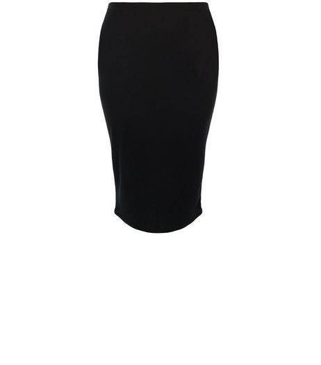 Curves Black Ribbed Pencil Skirt | New Look