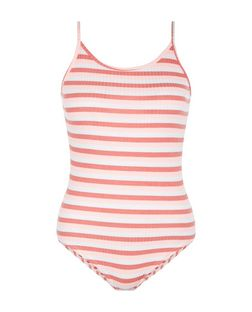 Pink Ribbed Stripe Strappy Bodysuit  | New Look