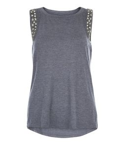 Anita and Green Navy Embellished Trim Vest | New Look