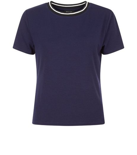 Navy Contrast Trim T-Shirt  | New Look