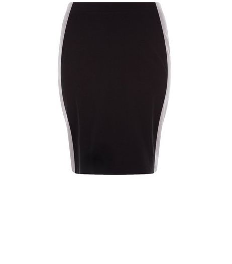 Curves Black Side Stripe Pencil Skirt | New Look