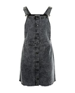 Teens Black Button Front Denim Pinafore Dress | New Look