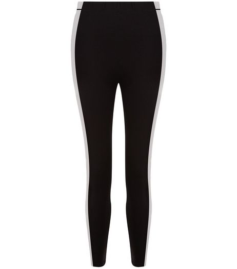Teens Black Stripe Side High Waisted Leggings | New Look