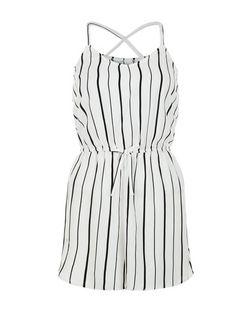 Teens White Stripe V Neck Playsuit | New Look