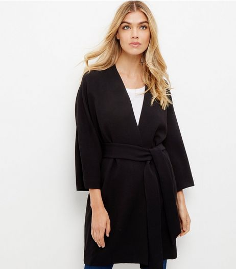 Black Belted Kimono Jacket  | New Look