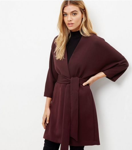 Burgundy Belted Kimono Jacket | New Look