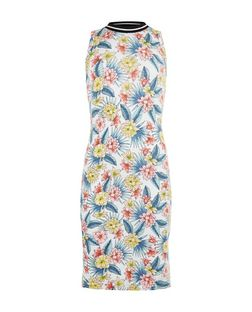 Teens White Floral Print Contrast Trim Sleeveless Dress | New Look