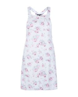 Teens White Rose Print Pocket Front Pinafore Dress | New Look