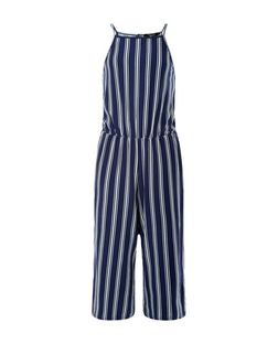 Teens Blue Stripe Culotte Jumpsuit  | New Look