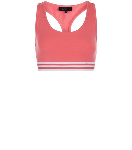 Mid Pink Stripe Hem Sports Crop Top | New Look