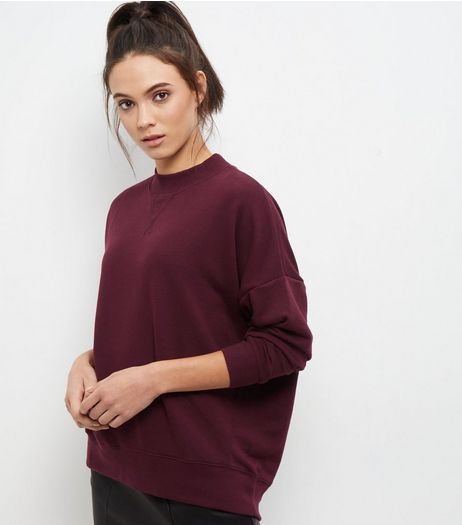 Burgundy Balloon Sleeve Sweater | New Look