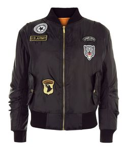 Cameo Rose Black Badge Bomber Jacket | New Look