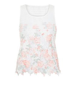 Cameo Rose White Floral Print Crochet Top | New Look