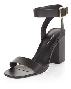 Black Square Toe Block Heel Sandals  | New Look