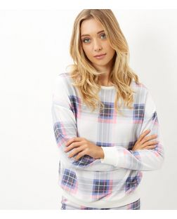 White Check Sweater Pyjama Top | New Look